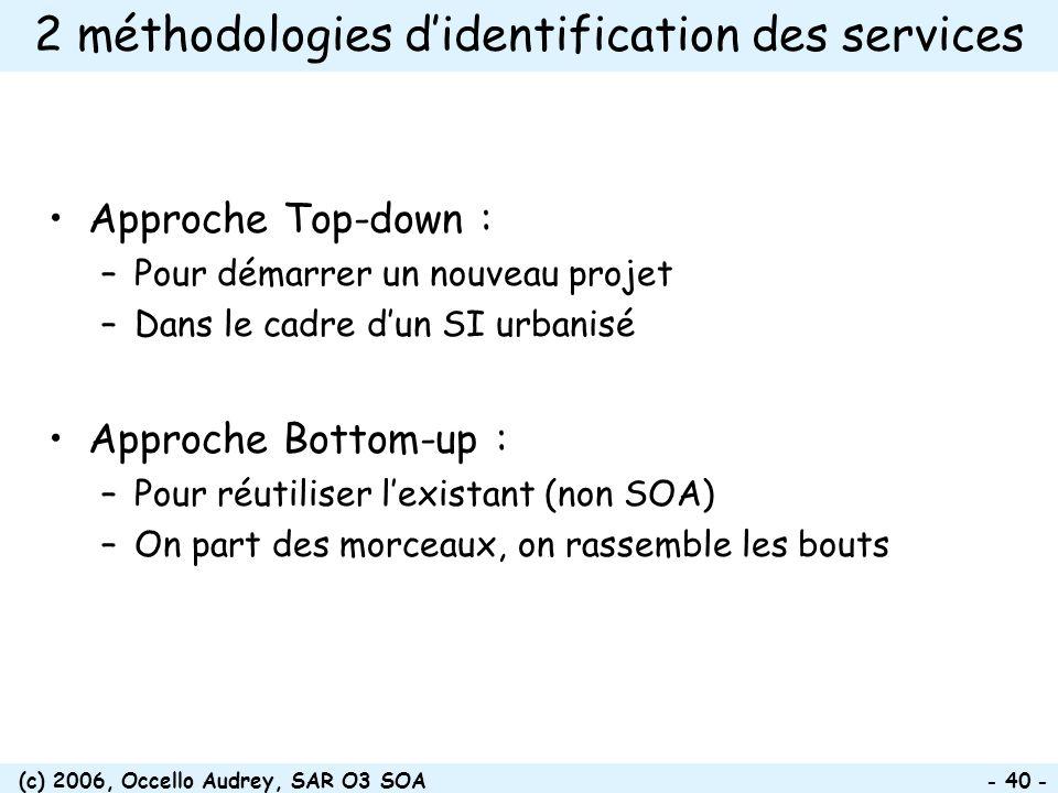(c) 2006, Occello Audrey, SAR O3 SOA - 40 - 2 méthodologies didentification des services Approche Top-down : –Pour démarrer un nouveau projet –Dans le