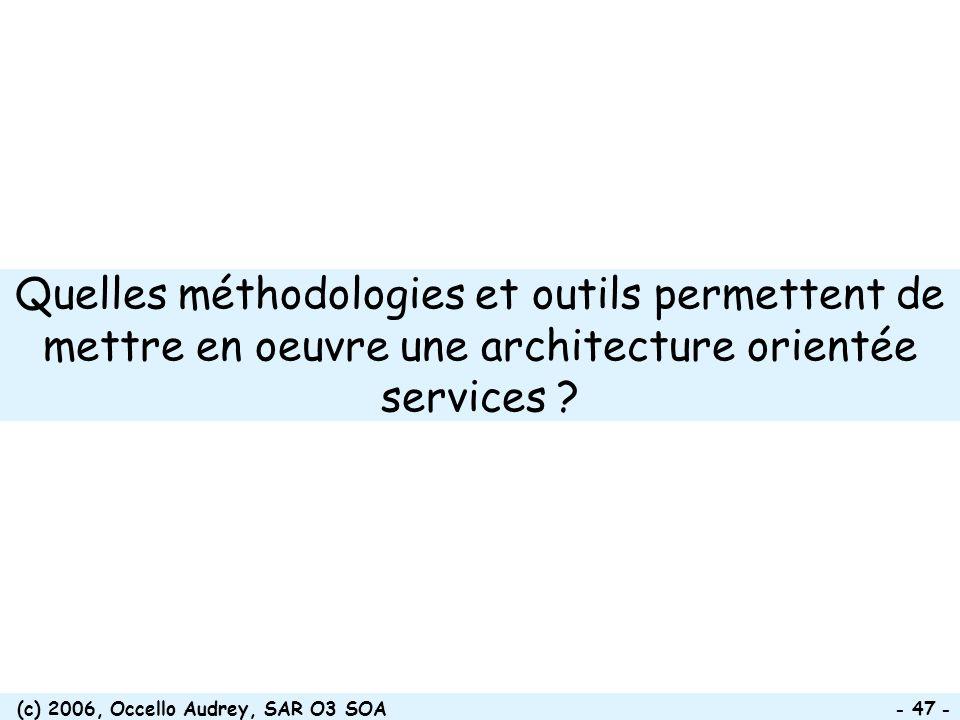 (c) 2006, Occello Audrey, SAR O3 SOA - 47 - Quelles méthodologies et outils permettent de mettre en oeuvre une architecture orientée services ?