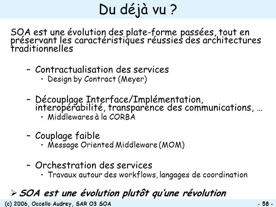 (c) 2006, Occello Audrey, SAR O3 SOA - 58 - Du déjà vu ? SOA est une évolution des plate-forme passées, tout en préservant les caractéristiques réussi