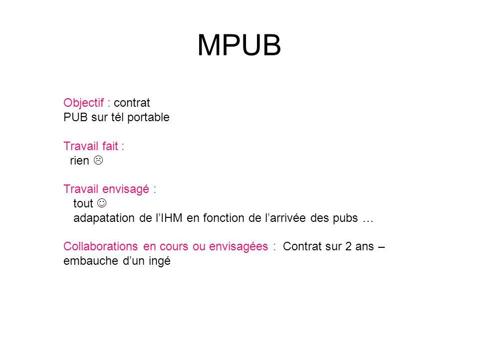 MPUB Objectif : contrat PUB sur tél portable Travail fait : rien Travail envisagé : tout adapatation de lIHM en fonction de larrivée des pubs … Collaborations en cours ou envisagées : Contrat sur 2 ans – embauche dun ingé