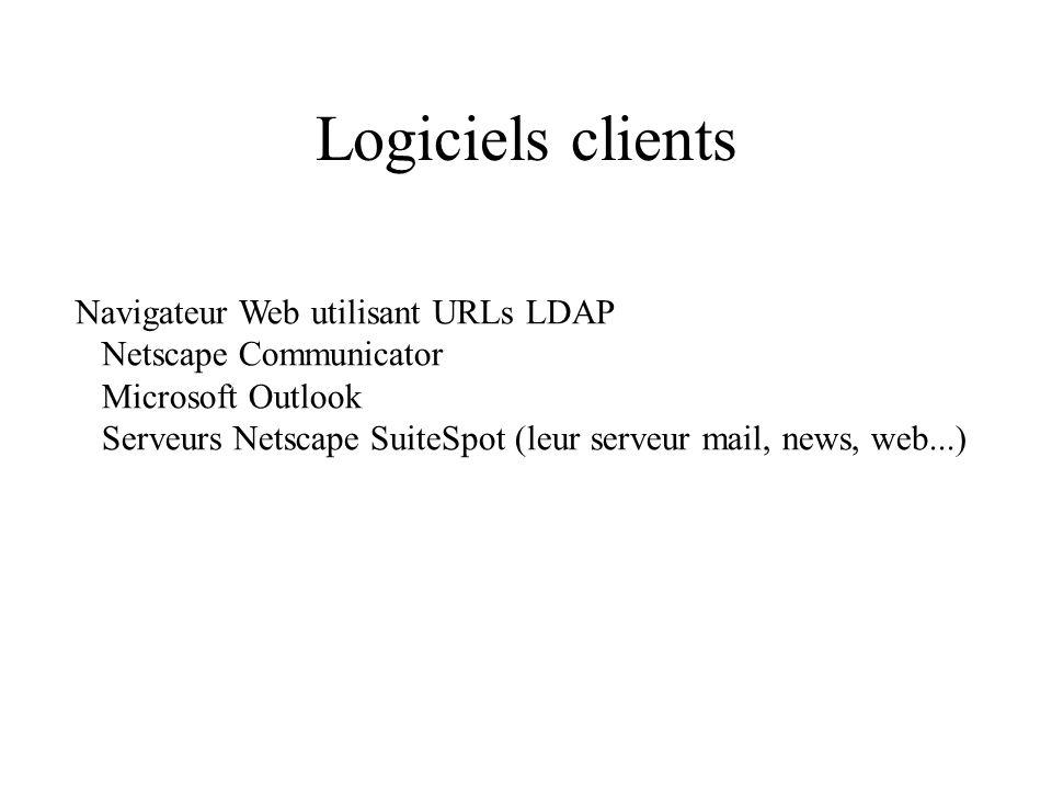 Logiciels clients Navigateur Web utilisant URLs LDAP Netscape Communicator Microsoft Outlook Serveurs Netscape SuiteSpot (leur serveur mail, news, web...)