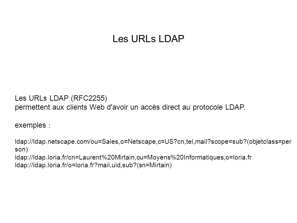 Les URLs LDAP Les URLs LDAP (RFC2255) permettent aux clients Web d avoir un accès direct au protocole LDAP.