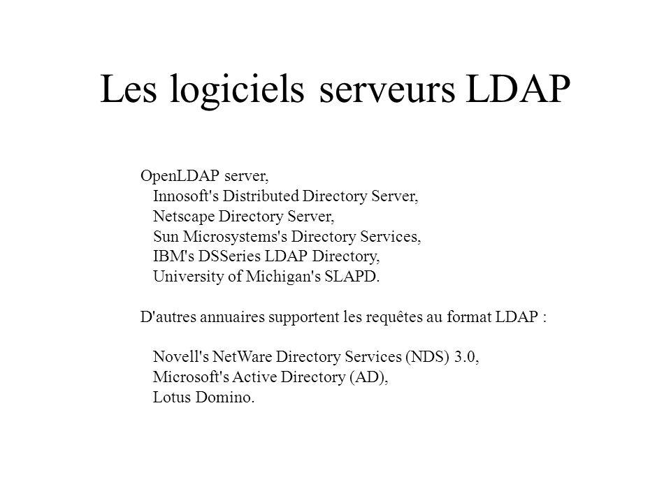 Les logiciels serveurs LDAP OpenLDAP server, Innosoft s Distributed Directory Server, Netscape Directory Server, Sun Microsystems s Directory Services, IBM s DSSeries LDAP Directory, University of Michigan s SLAPD.