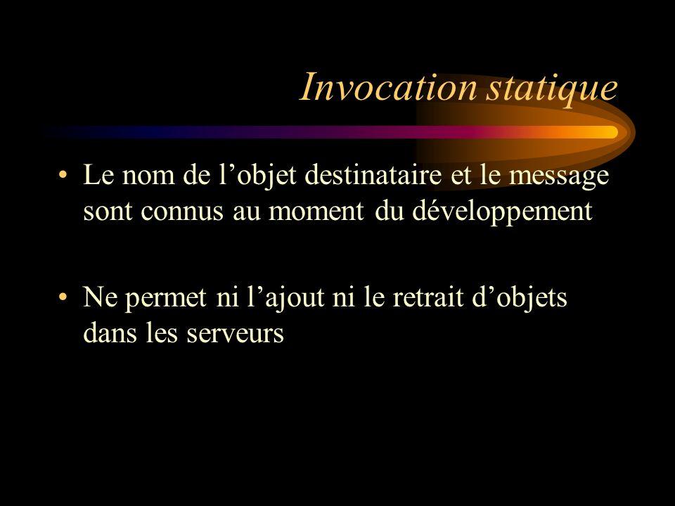 Invocation statique Le nom de lobjet destinataire et le message sont connus au moment du développement Ne permet ni lajout ni le retrait dobjets dans