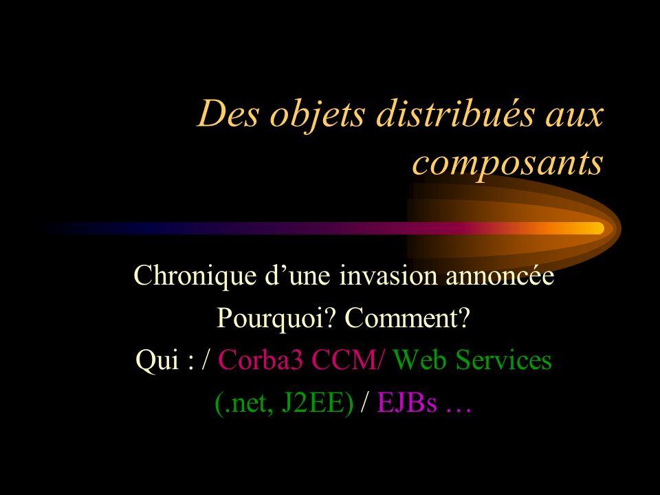 Des objets distribués aux composants Chronique dune invasion annoncée Pourquoi? Comment? Qui : / Corba3 CCM/ Web Services (.net, J2EE) / EJBs …
