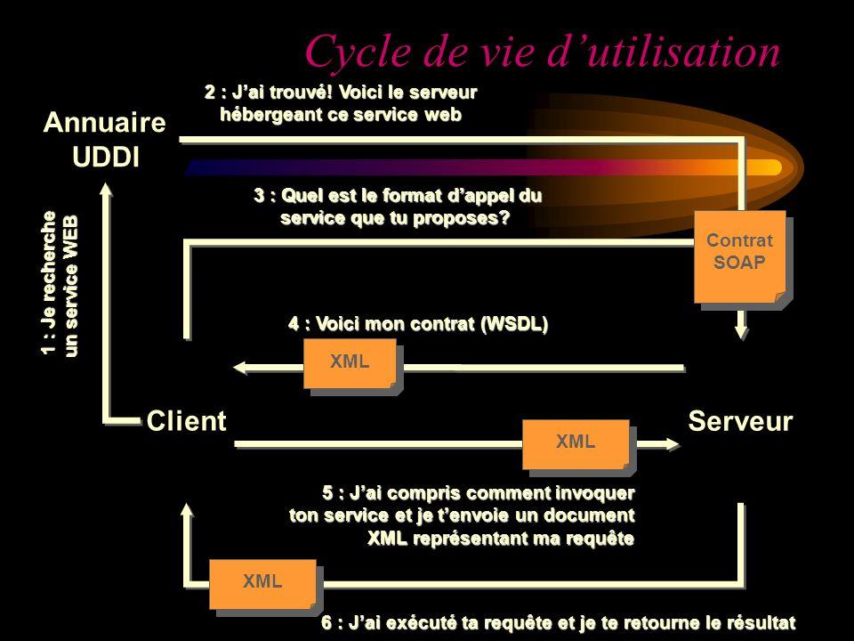 Annuaire UDDI Client XML 5 : Jai compris comment invoquer ton service et je tenvoie un document XML représentant ma requête Serveur 2 : Jai trouvé! Vo