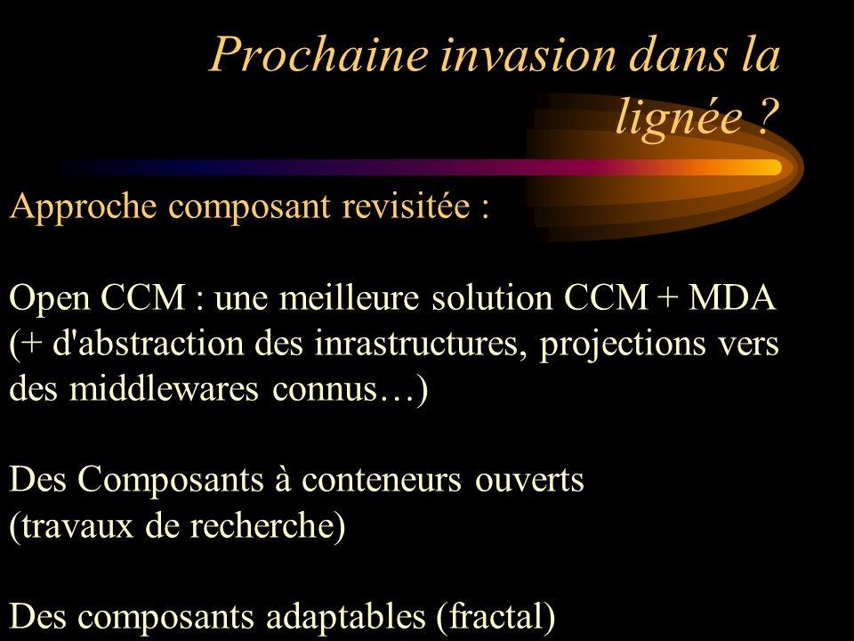 Prochaine invasion dans la lignée ? Approche composant revisitée : Open CCM : une meilleure solution CCM + MDA (+ d'abstraction des inrastructures, pr