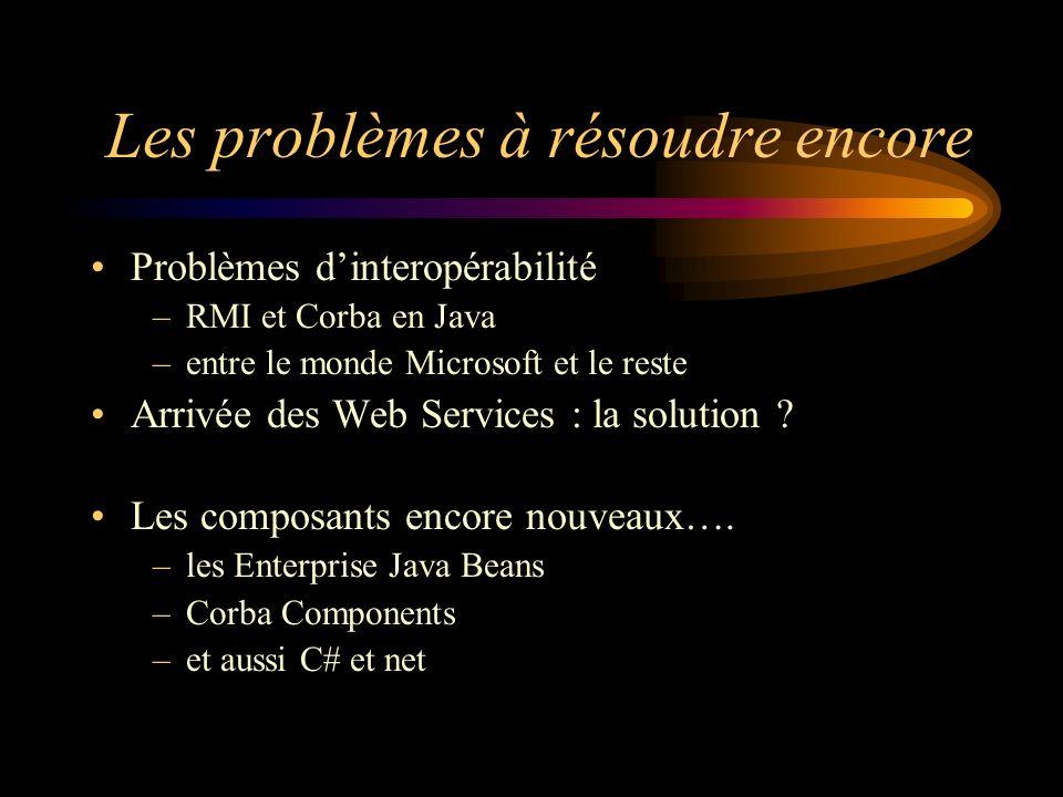 Les problèmes à résoudre encore Problèmes dinteropérabilité –RMI et Corba en Java –entre le monde Microsoft et le reste Arrivée des Web Services : la