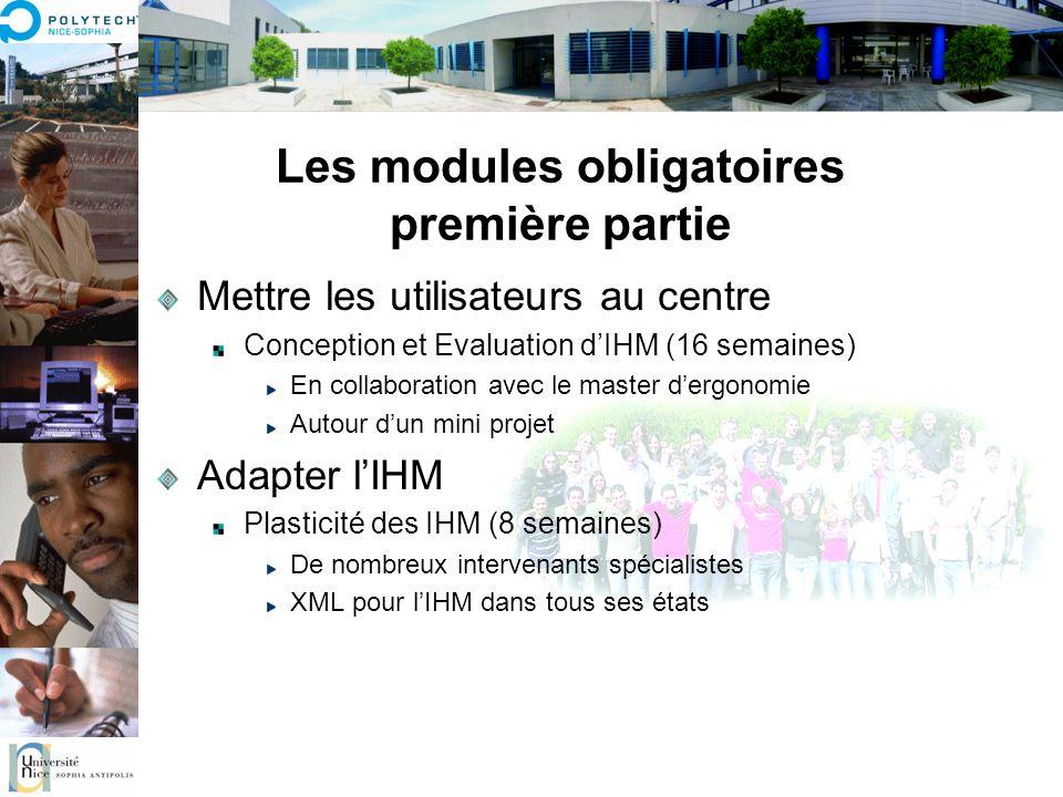 Les modules obligatoires deuxième partie Faire des IHM modernes Les nouveaux moyens dinteraction (8 semaines) responsable P.