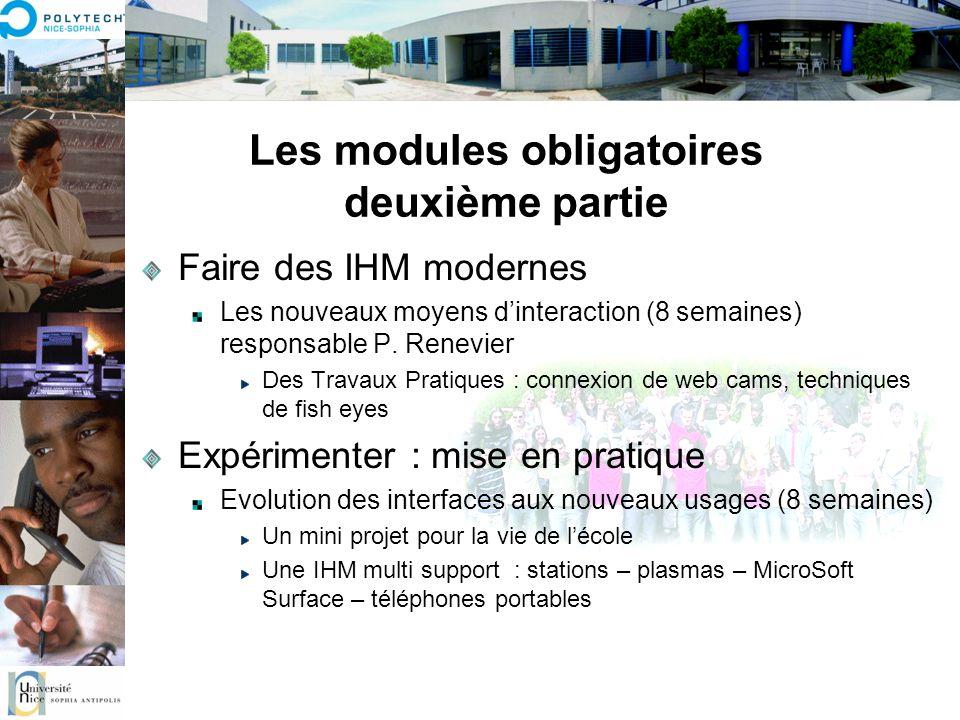 Les modules obligatoires deuxième partie Faire des IHM modernes Les nouveaux moyens dinteraction (8 semaines) responsable P. Renevier Des Travaux Prat