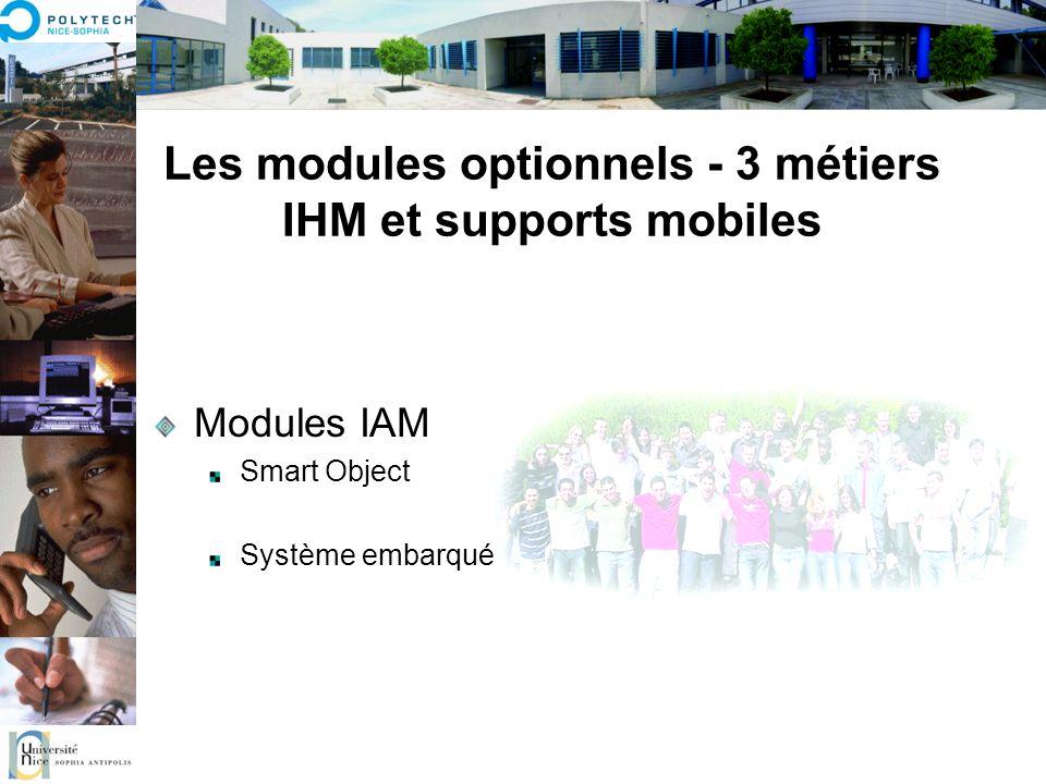 Les modules optionnels - 3 métiers IHM et supports mobiles Modules IAM Smart Object Système embarqué