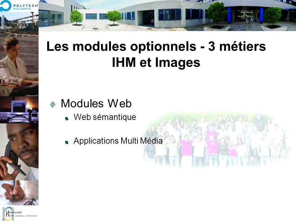 Les modules optionnels - 3 métiers IHM et Images Modules Web Web sémantique Applications Multi Média