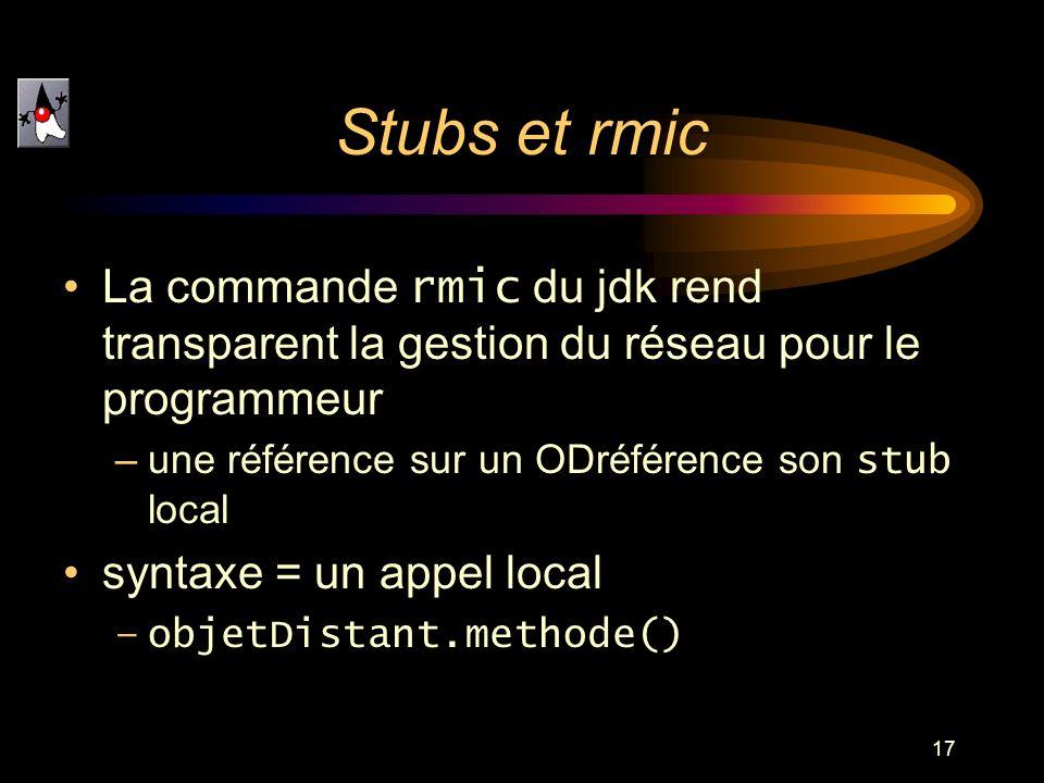 17 Stubs et rmic La commande rmic du jdk rend transparent la gestion du réseau pour le programmeur –une référence sur un ODréférence son stub local sy