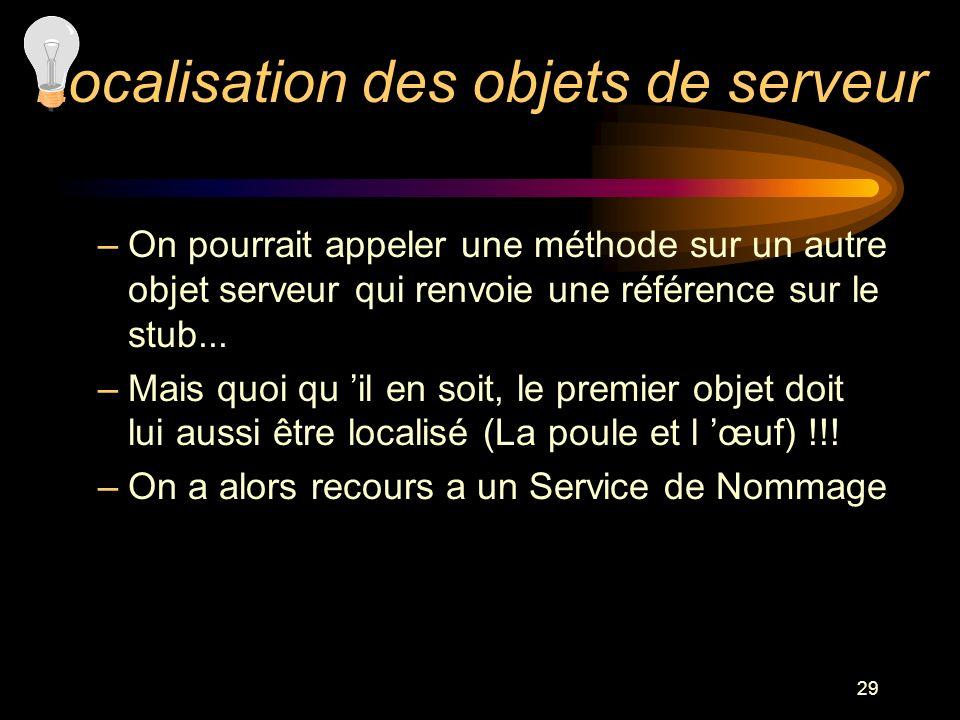 29 –On pourrait appeler une méthode sur un autre objet serveur qui renvoie une référence sur le stub... –Mais quoi qu il en soit, le premier objet doi