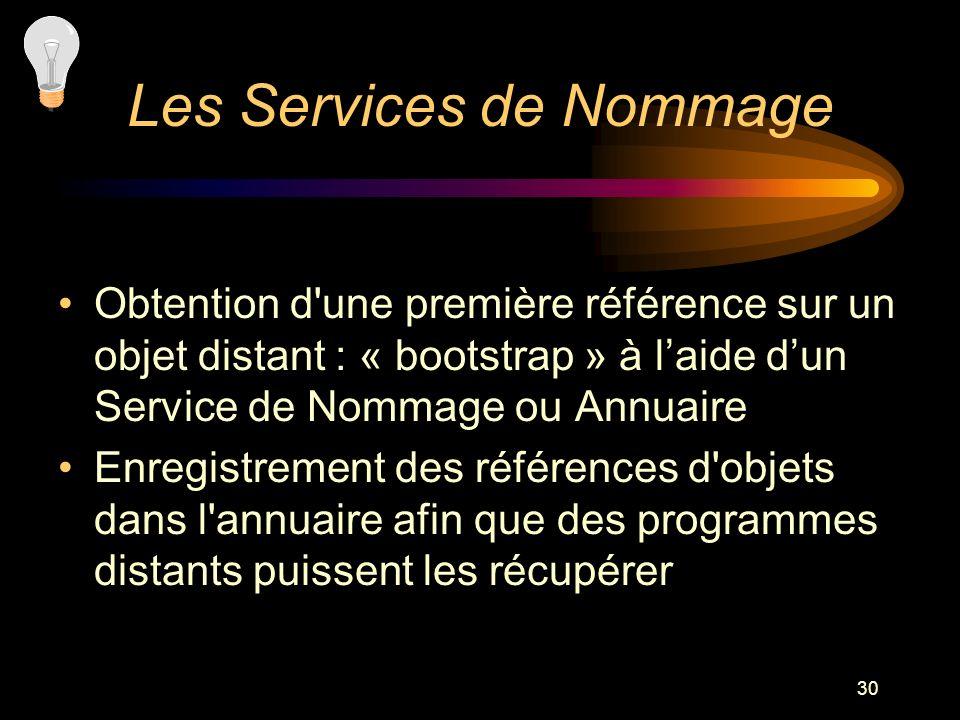 30 Obtention d'une première référence sur un objet distant : « bootstrap » à laide dun Service de Nommage ou Annuaire Enregistrement des références d'