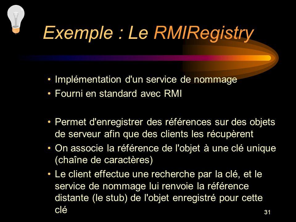 31 Implémentation d'un service de nommage Fourni en standard avec RMI Permet d'enregistrer des références sur des objets de serveur afin que des clien