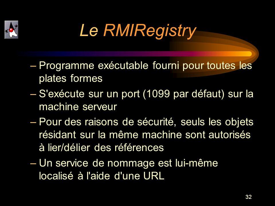 32 –Programme exécutable fourni pour toutes les plates formes –S'exécute sur un port (1099 par défaut) sur la machine serveur –Pour des raisons de séc