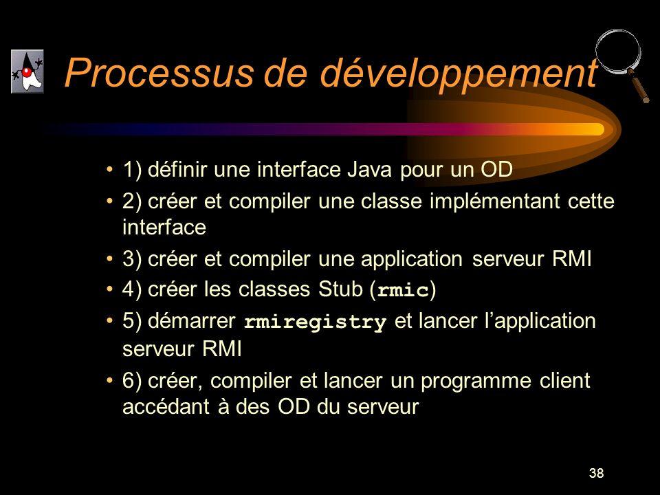 38 1) définir une interface Java pour un OD 2) créer et compiler une classe implémentant cette interface 3) créer et compiler une application serveur