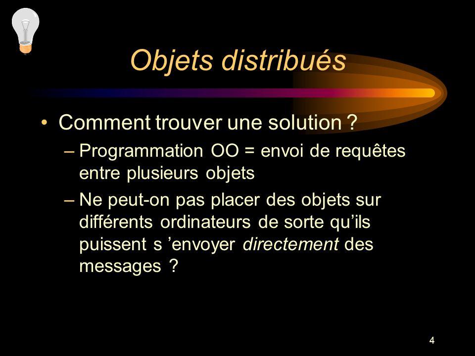 4 Objets distribués Comment trouver une solution ? –Programmation OO = envoi de requêtes entre plusieurs objets –Ne peut-on pas placer des objets sur