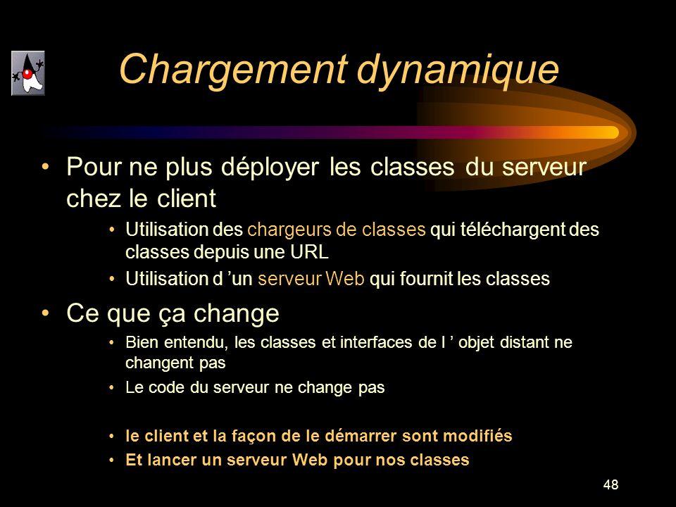 48 Pour ne plus déployer les classes du serveur chez le client Utilisation des chargeurs de classes qui téléchargent des classes depuis une URL Utilis