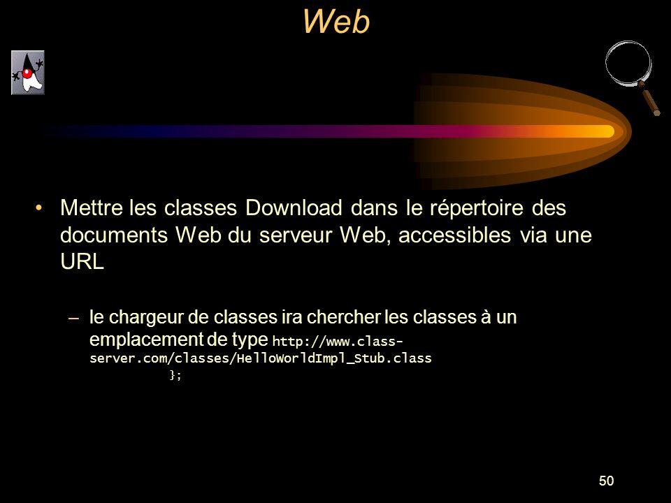 50 Mettre les classes Download dans le répertoire des documents Web du serveur Web, accessibles via une URL –le chargeur de classes ira chercher les c