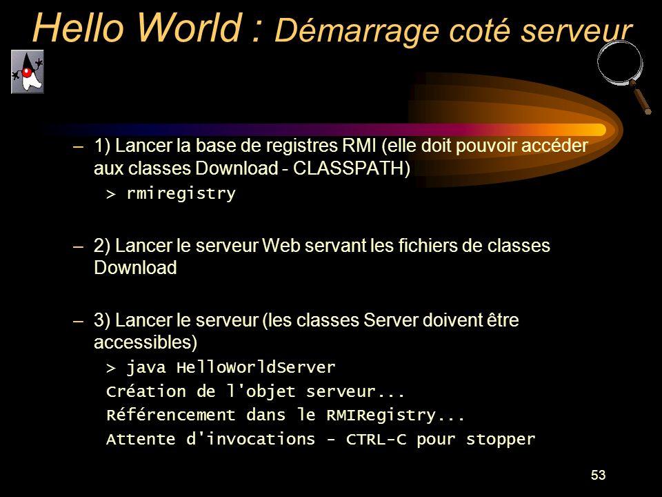 53 –1) Lancer la base de registres RMI (elle doit pouvoir accéder aux classes Download - CLASSPATH) > rmiregistry –2) Lancer le serveur Web servant le