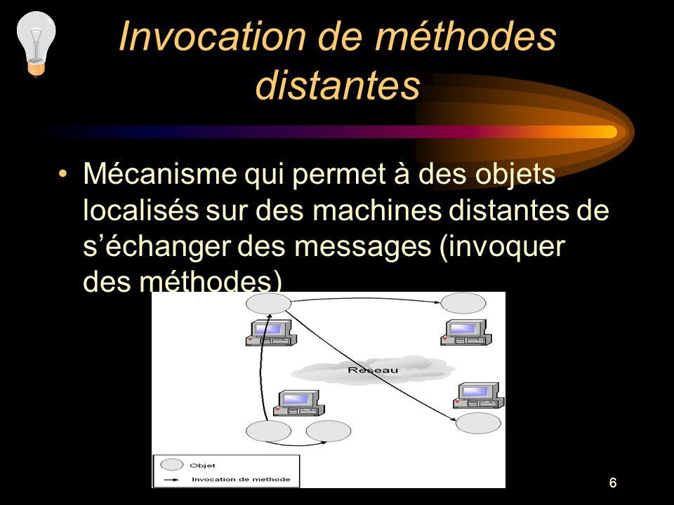 6 Invocation de méthodes distantes Mécanisme qui permet à des objets localisés sur des machines distantes de séchanger des messages (invoquer des méth