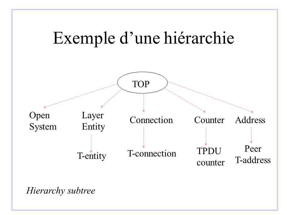 Hiérarchie + contenance TOP Open System Layer Entity ConnectionCounterAddress T-entity T-connection TPDU counter Peer T-address Hierarchy subtree + Contenance