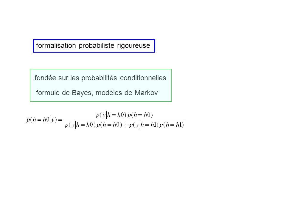 formalisation probabiliste rigoureuse fondée sur les probabilités conditionnelles formule de Bayes, modèles de Markov