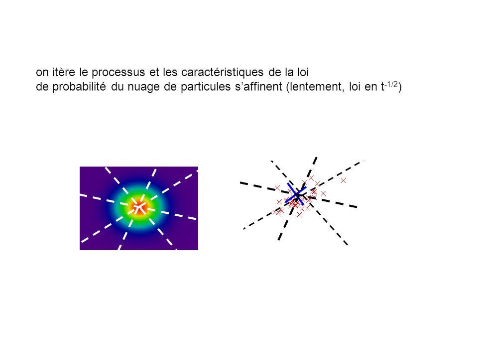 on itère le processus et les caractéristiques de la loi de probabilité du nuage de particules saffinent (lentement, loi en t -1/2 )