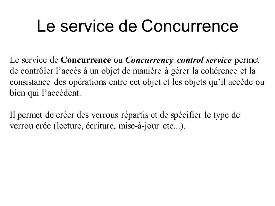 Le service de Concurrence Le service de Concurrence ou Concurrency control service permet de contrôler laccès à un objet de manière à gérer la cohéren