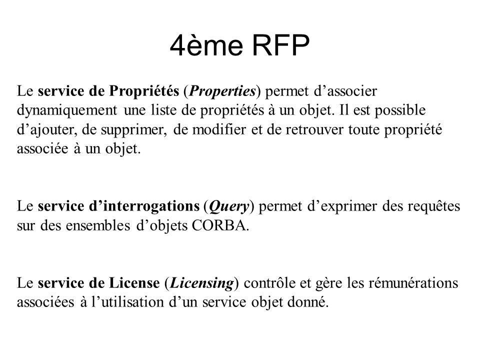 4ème RFP Le service de Propriétés (Properties) permet dassocier dynamiquement une liste de propriétés à un objet. Il est possible dajouter, de supprim