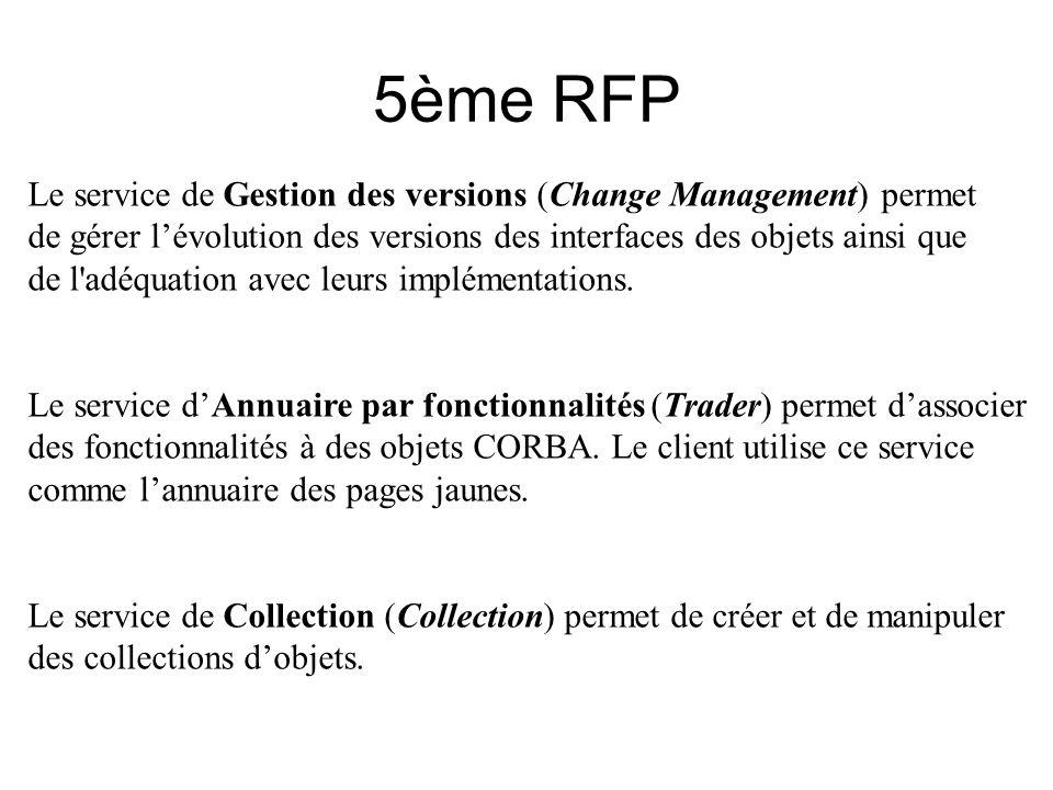 5ème RFP Le service de Gestion des versions (Change Management) permet de gérer lévolution des versions des interfaces des objets ainsi que de l'adéqu