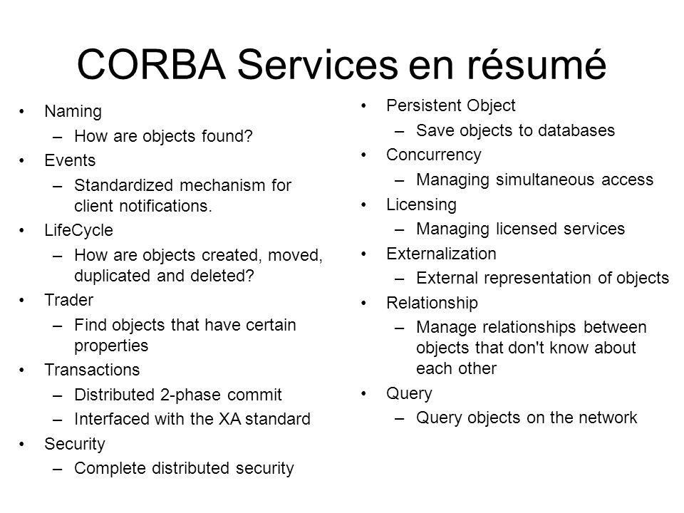 CORBA Services en résumé Naming –How are objects found.