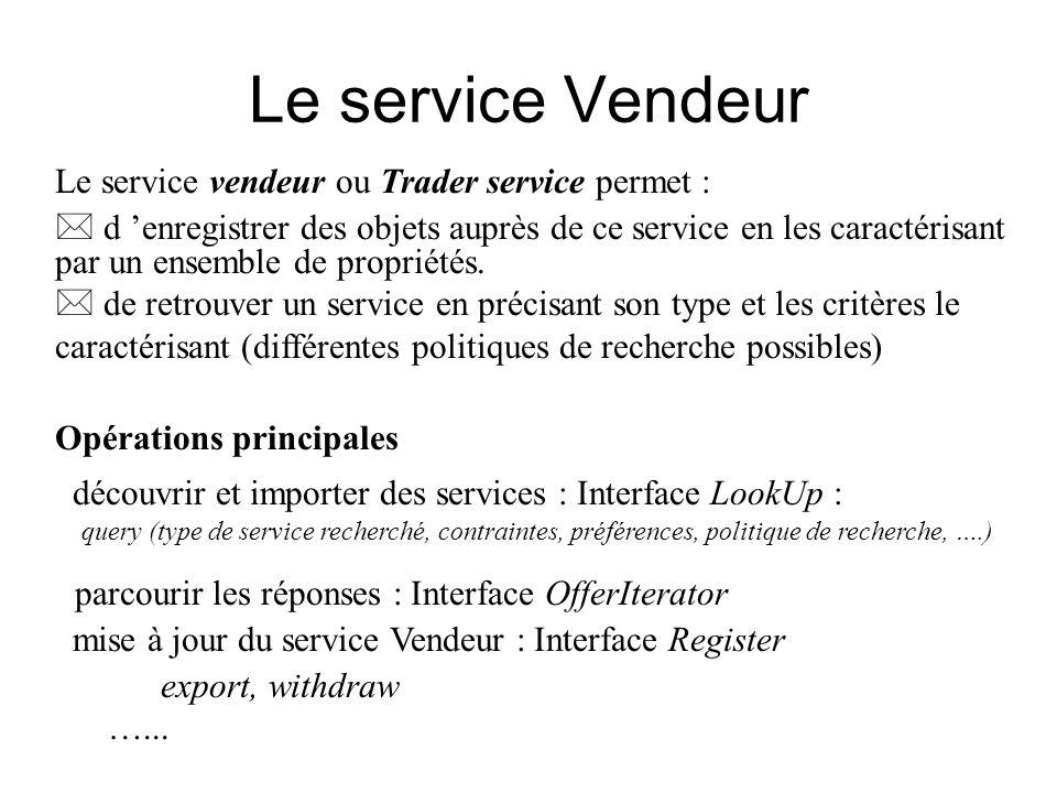 Le service Vendeur Le service vendeur ou Trader service permet : * d enregistrer des objets auprès de ce service en les caractérisant par un ensemble