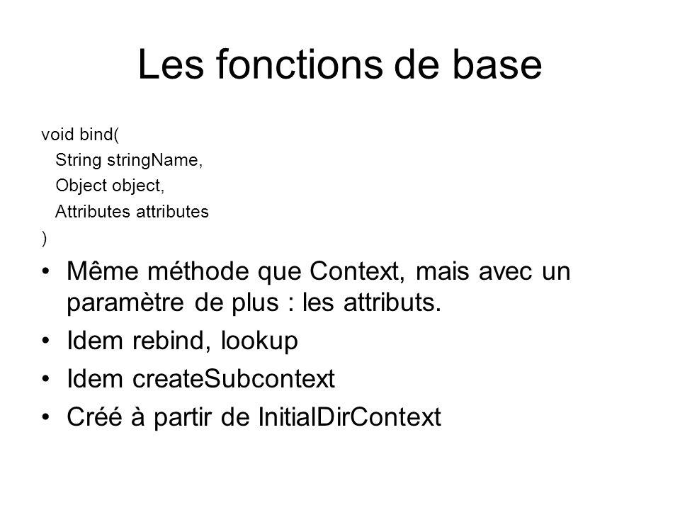 Les fonctions de base void bind( String stringName, Object object, Attributes attributes ) Même méthode que Context, mais avec un paramètre de plus :