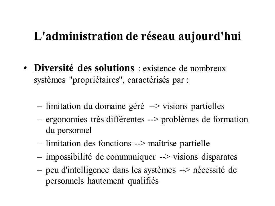 L'administration de réseau aujourd'hui Diversité des solutions : existence de nombreux systèmes