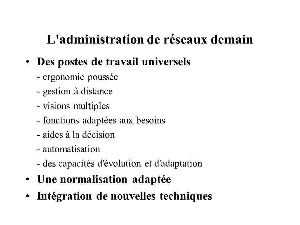 L'administration de réseaux demain Des postes de travail universels - ergonomie poussée - gestion à distance - visions multiples - fonctions adaptées