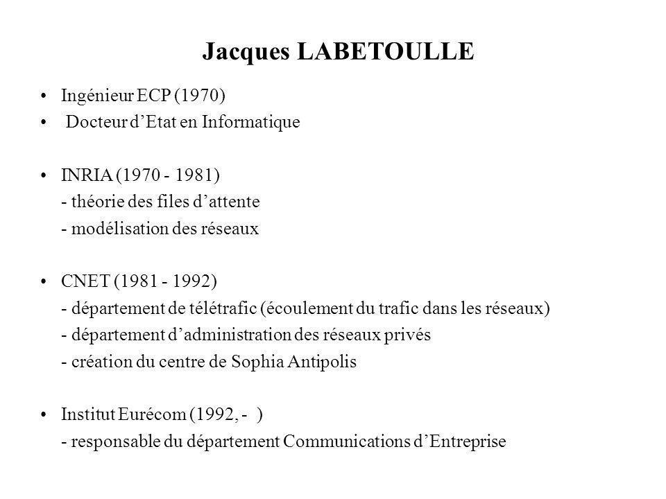 Jacques LABETOULLE Ingénieur ECP (1970) Docteur dEtat en Informatique INRIA (1970 - 1981) - théorie des files dattente - modélisation des réseaux CNET