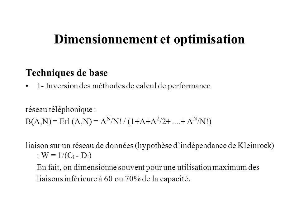 Dimensionnement et optimisation Techniques de base 1- Inversion des méthodes de calcul de performance réseau téléphonique : B(A,N) = Erl (A,N) = A N /