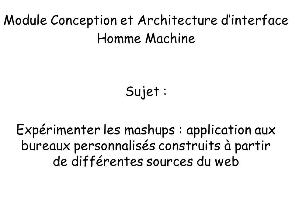 Module Conception et Architecture dinterface Homme Machine Sujet : Expérimenter les mashups : application aux bureaux personnalisés construits à parti