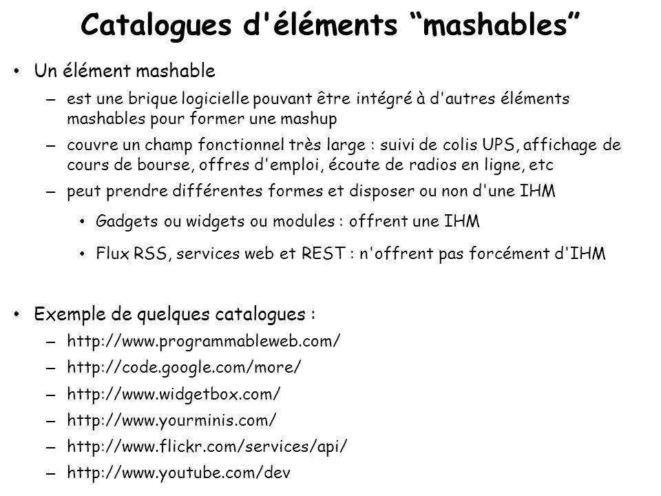 Éditeurs de mashups Plus ou moins utilisables par les utilisateurs finaux Offrant parfois des catalogues de widgets à intégrer aux mashups Popfly : http://www.popfly.com/ Google mashup editor : http://editor.googlemashups.com/ Yahoo Pipes : http://pipes.yahoo.com/pipes/ Intel Mash Maker : http://mashmaker.intel.com/web/ IBM Lotus Mashups : http://www- 01.ibm.com/software/lotus/products/mashups/ Dapper : http://www.dapper.net/