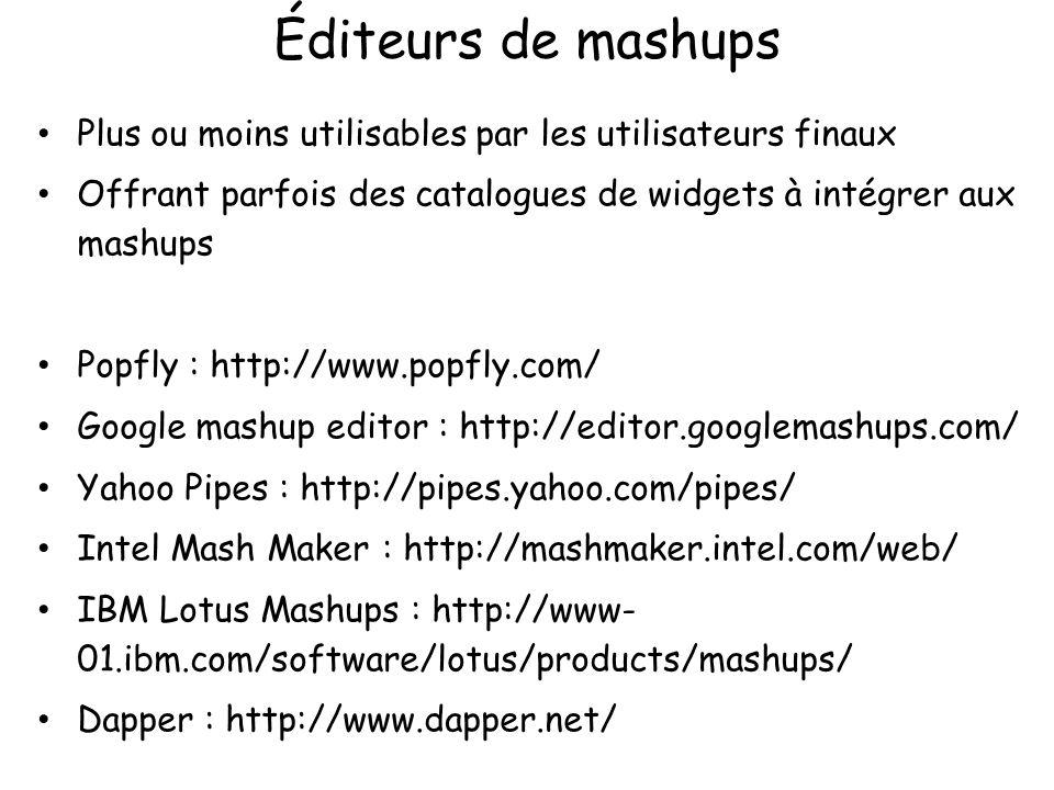 Éditeurs de mashups Plus ou moins utilisables par les utilisateurs finaux Offrant parfois des catalogues de widgets à intégrer aux mashups Popfly : ht