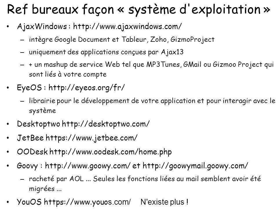 Ref bureaux façon « système d'exploitation » AjaxWindows : http://www.ajaxwindows.com/ – intègre Google Document et Tableur, Zoho, GizmoProject – uniq