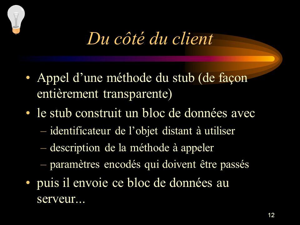 12 Du côté du client Appel dune méthode du stub (de façon entièrement transparente) le stub construit un bloc de données avec –identificateur de lobje
