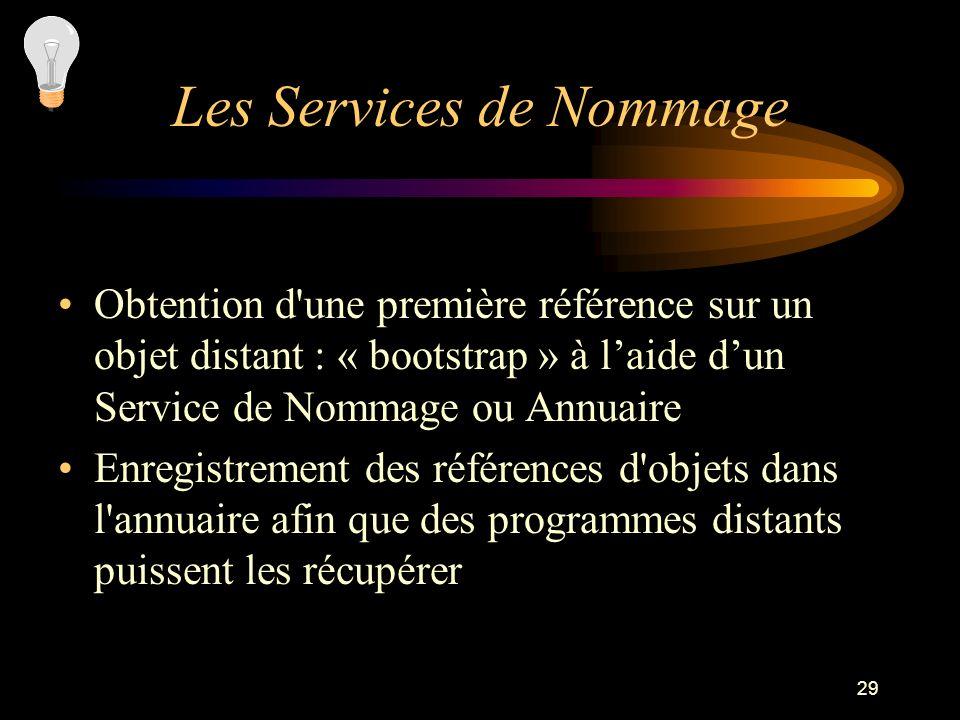 29 Obtention d'une première référence sur un objet distant : « bootstrap » à laide dun Service de Nommage ou Annuaire Enregistrement des références d'