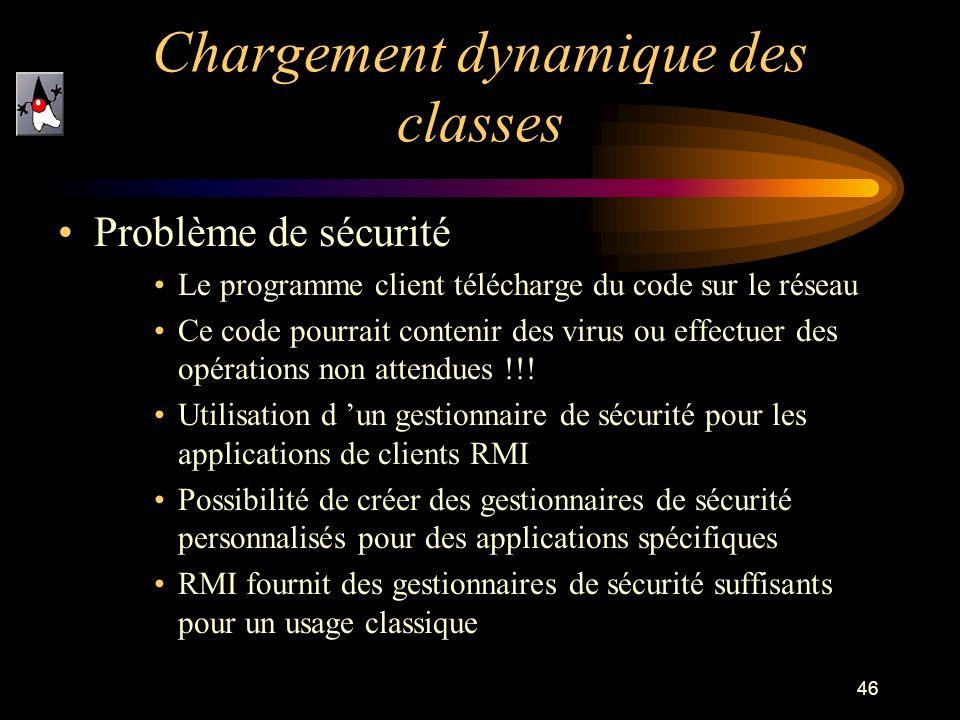 46 Chargement dynamique des classes Problème de sécurité Le programme client télécharge du code sur le réseau Ce code pourrait contenir des virus ou e