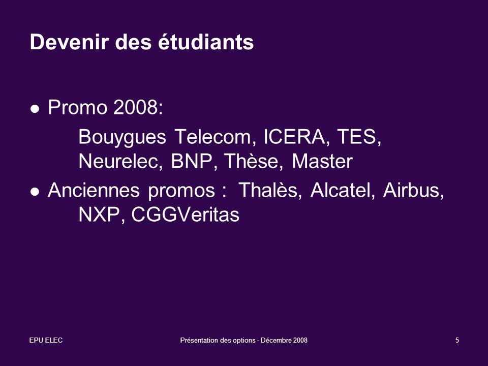 EPU ELECPrésentation des options - Décembre 20085 Devenir des étudiants Promo 2008: Bouygues Telecom, ICERA, TES, Neurelec, BNP, Thèse, Master Anciennes promos : Thalès, Alcatel, Airbus, NXP, CGGVeritas