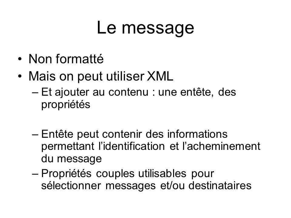 Le message Non formatté Mais on peut utiliser XML –Et ajouter au contenu : une entête, des propriétés –Entête peut contenir des informations permettan