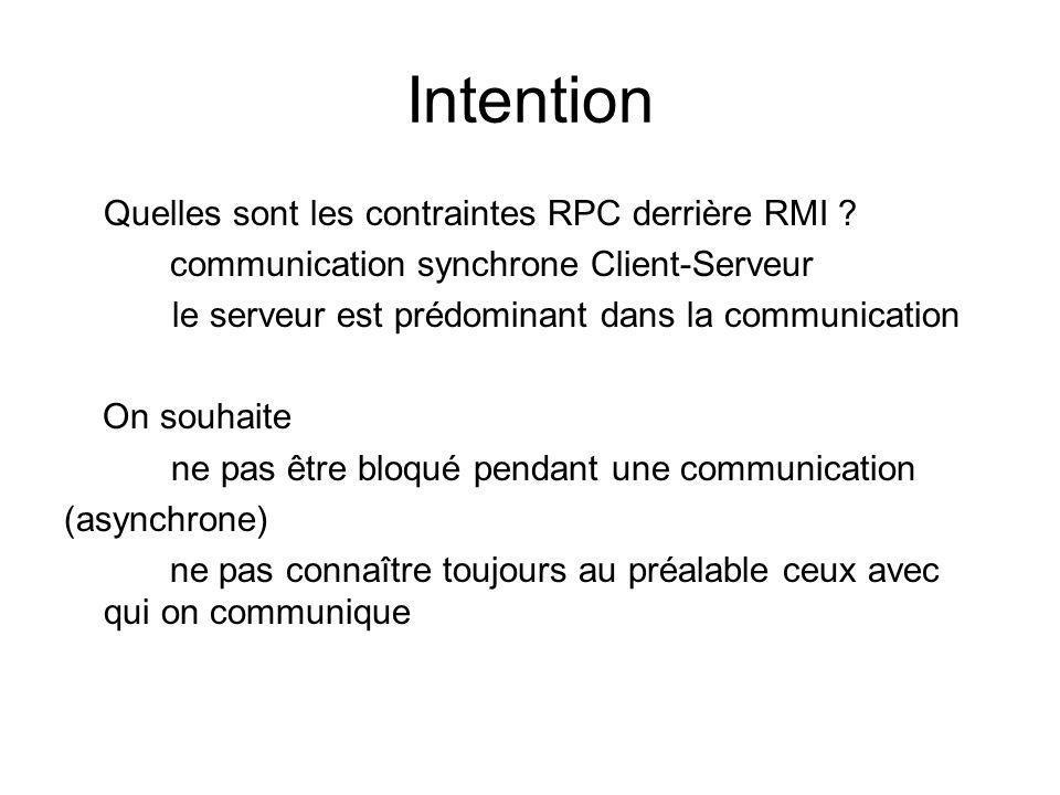 Intention Quelles sont les contraintes RPC derrière RMI ? communication synchrone Client-Serveur le serveur est prédominant dans la communication On s